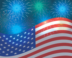 waving US flag at bottom with blue and green fireworks exploding above